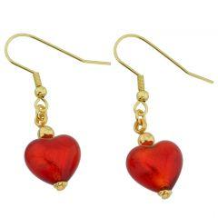 Murano Heart Earrings - Fire Red