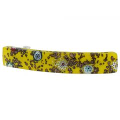 Venetian Reflections Hair Clip - Large Yellow Millefiori
