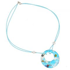 Murano Lava Necklace - Aqua