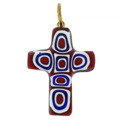 Millefiori Mosaic Cross Pendant - Red
