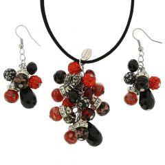 Venetian Charms Murano Jewelry Set - Red