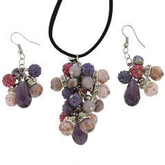 Venetian Charms Murano Jewelry Set - Amethyst