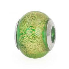 Sterling Silver Ca D'Oro Emerald Murano Glass Charm Bead