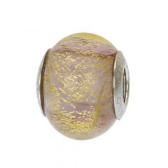 Sterling Silver Ca D'Oro Purple Murano Glass Charm Bead