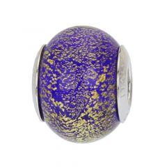 Sterling Silver Ca D'Oro Blue Murano Glass Charm Bead