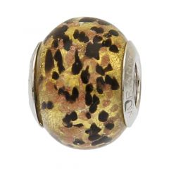 Black Gold Confetti Murano Glass Charm Bead