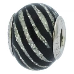 Sterling Silver Black Stripes Murano Glass Charm Bead