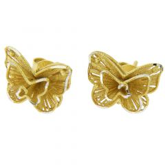 Butterfly Flower Sterling Silver Gold-Plated  Earrings