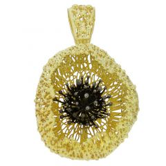 Poppy Flower Sterling Silver Gold-Plated Pendant