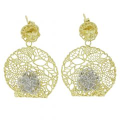 Italian Rose Sterling Silver Gold-Plated Earrings