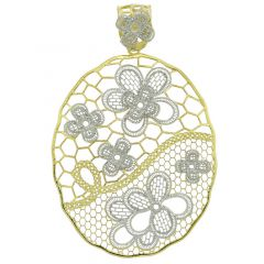 Italian Floral Lace Sterling Silver Gold-Plated Pendant