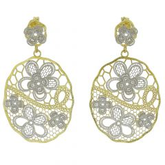 Italian Floral Lace Sterling Silver Gold-Plated Earrings