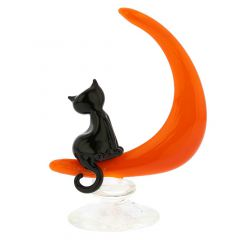 Murano Glass Cat On The Moon Sculpture