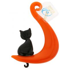 Murano Glass Cat On The Moon Hanging Figurine
