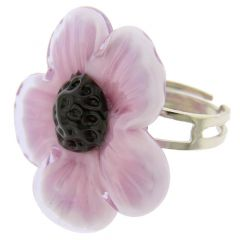 Purple Flower Adjustable Murano Ring