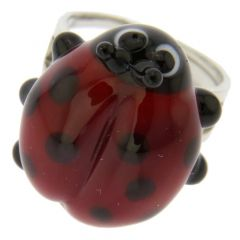 Ladybug Adjustable Murano Ring