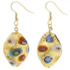Murano Glass Klimt Spiral Earrings