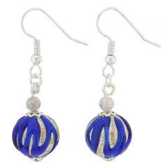 Royal Blue Silver Ball Earrings