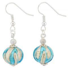 Royal Aqua Silver Ball Earrings