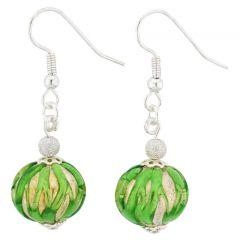 Royal Green Silver Ball Earrings
