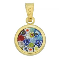 "Small Millefiori Pendant ""Multicolor"" in Gold-Plated Frame 10mm"