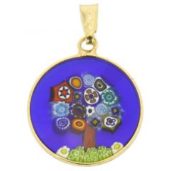 "Small Millefiori Pendant ""Tree Of Life"" in Gold-Plated Frame 18mm"