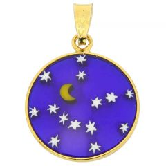 "Small Millefiori Pendant ""Starry Night"" in Gold-Plated Frame 18mm"