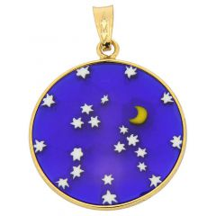 "Medium Millefiori Pendant ""Starry Night"" in Gold-Plated Frame 23mm"