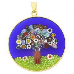 "Large Millefiori Pendant ""Tree Of Life"" in Gold-Plated Frame 32mm"