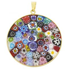 "Large Millefiori Pendant ""Multicolor"" in Gold-Plated Frame 36mm"