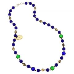 Antique Venetian Beads Murano Glass Millefiori Necklace - Blue