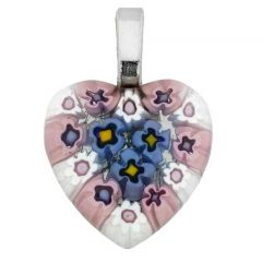 Millefiori Heart Pendant Medium - Navy Blue