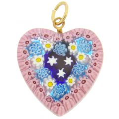 Millefiori Heart Pendant Medium - Pink