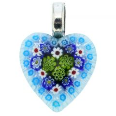 Millefiori Heart Pendant Medium - Light Blue
