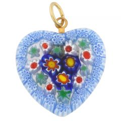 Millefiori Heart Pendant Medium - Black and White