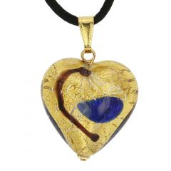Murano Heart Pendant - Gold and Blue