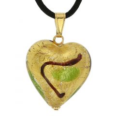 Murano Heart Pendant - Gold and Green