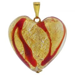 Murano Large Heart Pendant - Red Waves Gold