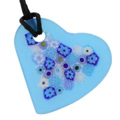 Matte Millefiori Heart Necklace - Blue