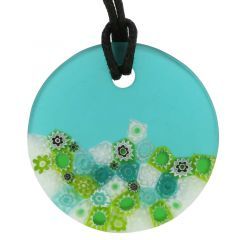 Matte Millefiori Round Necklace - Green