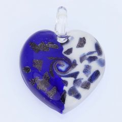 Tender Heart Pendant - Blue and Cream Swirl