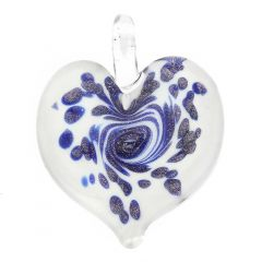 Tender Heart Pendant - Icy Blue Swirl