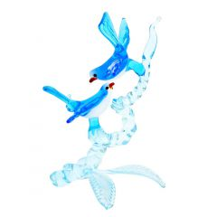 Murano Glass Birds On A Branch - Blue