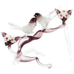 Murano Glass Birds On A Cherry Branch - Purple