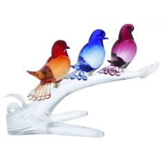 Murano Glass Birds On A Branch - Three Colors