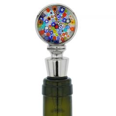Murano Glass Millefiori Round Bottle Stopper - Multicolor