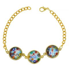 Murano Glass Millefiori Gold Disks Bracelet - Multicolor