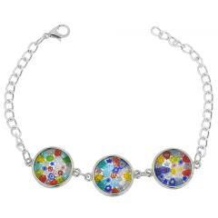 Murano Glass Millefiori Silver Disks Bracelet - Multicolor