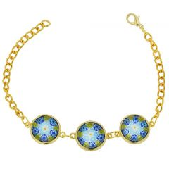 Murano Glass Millefiori Gold Disks Bracelet - Green