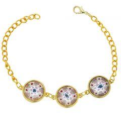 Murano Glass Millefiori Gold Disks Bracelet - Pink